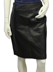 Valerie Stevens Dark Chocolate 100% Leather Skirt Sz 4 (SKU 000018)