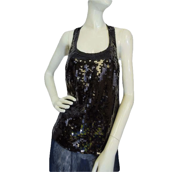 Banana Republic Supreme Black Sequin Top Size Small (SKU 000025)