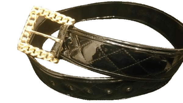 BELT Black Patent Vegan Leather Adjustable Belt SKU 000099