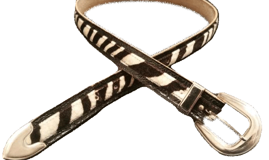BELT Animal Print Black and Cream Zebra Leather Belt (SKU 000099)
