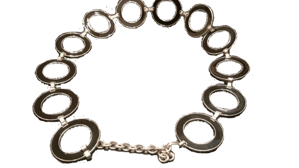 BELT Black and Silver Circle  (SKU 000099)