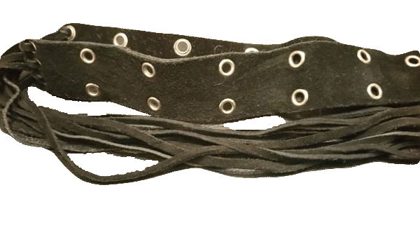 BELT Black Suede with Silver Grommets and Fringe (SKU 000099)