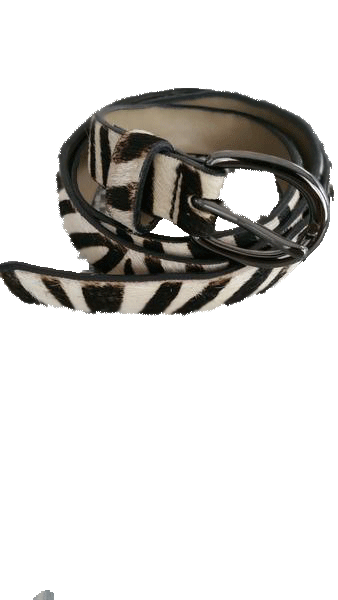 BELT Animal Print Black and Cream Zebra Print Belt Sz S (SKU 000099)