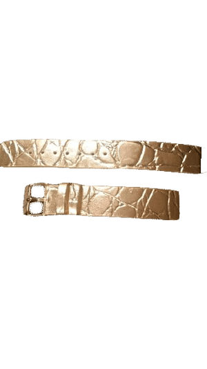 Gold Metallic Leather Watch Band Replacement  (SKU 000100)