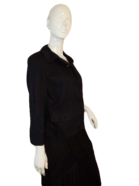 Talbots Black Stretch Cotton Jacket with Fun Large round buttons Size 12 SKU 000141