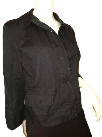 Talbots Black Stretch Cotton Jacket with Fun Large round buttons Size 12 (SKU 000141)