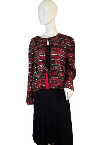 Papell Boutiue Evening Beautiful Longsleeve Beaded 100% Silk Red Blazer Size XL (SKU 000141)