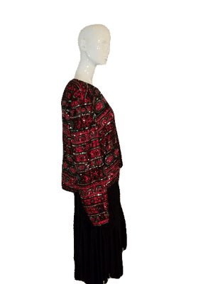 Papell Boutiue Evening Beautiful Longsleeve Beaded 100% Silk Red Blazer Size XL SKU 000141