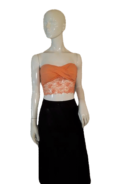 Bozzolo Orange Lace Sexy Strapless Crop Top Size Large SKU 000128
