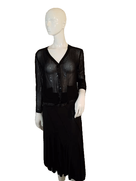 Black Sheer Long Sleeve Top with Front Button Down Closure Size L SKU 000128