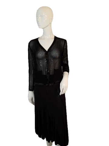 aec565e18d44 Black Sheer Long Sleeve Top with Front Button Down Closure Size Small (SKU  000128)