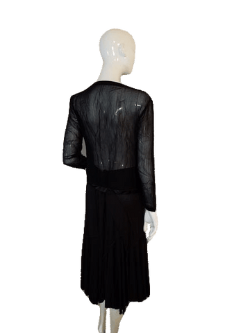 1890dc6fa52b Black Sheer Long Sleeve Top with Front Button Down Closure Size Small (SKU  000128). Designers On a Dime