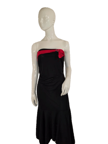 Zinc Strapless Black W/Red Ribbon And Bow Designer Dress Size L   ( SKU 000136 )