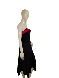 Zinc Strapless Black W/Red Ribbon And Bow Designer Dress Size L SKU 000136