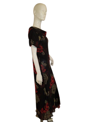 Plaza South Short Sleeved Black Double Layer Sheer Floral W/Red Flowers And Ruffles Long Dress Size 12 SKU 000136