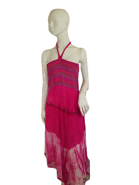 Ace Fashion Halter W/Neck Tie Pink W/Multi Color Embroidery Mid Length Springtime Dress Size One Size Fit All SKU 000136