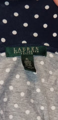 Ralph Lauren Cold Shoulder Navy Blue Polka Dot Top Size PL (SKU 000020)