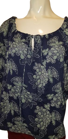 RALPH LAUREN Blue Flower Print Size Medium TOPS (SKU 000012)