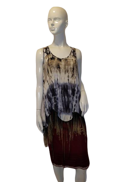 Shanley Sleeveless Wht, Blk, Blue, and Tan Tie Dye W/Bottom Fringe Top Size M SKU  000127
