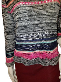 Love On A Hanger Long Sleeve Black, Pink And Multicolored Knit Sweater Size L SKU 000127