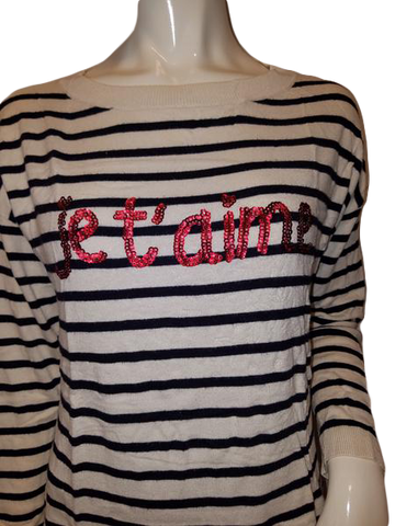 Talbots Jet'aime Long Sleeve White, With Navy Blue Stripes Light Sweater Size M  ( SKU 000127 )