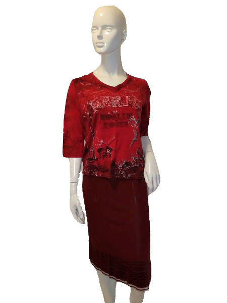 Allison Daley 3/4 Sleeve Red W/Print Top Size S SKU  000127