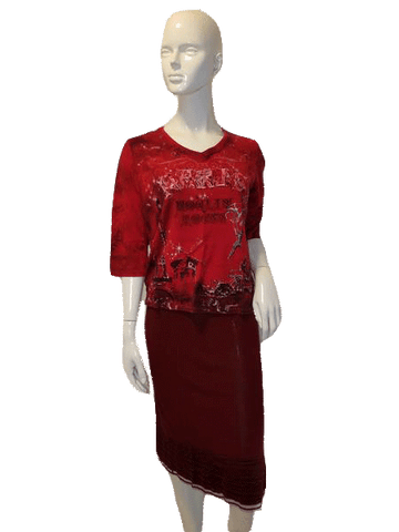Allison Daley 3/4 Sleeve Red W/Print Top Size S ( SKU  000127 )