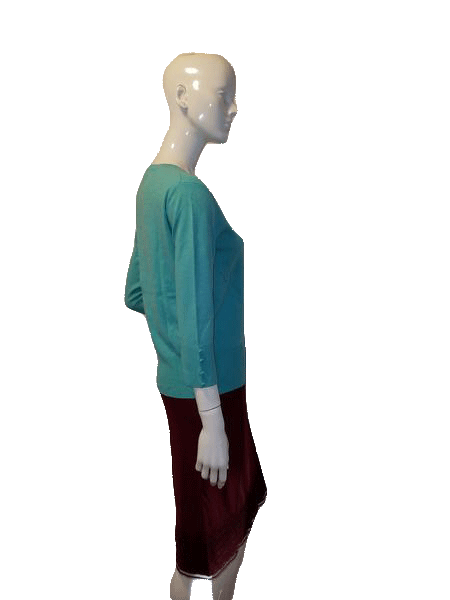 Grace Elements 3/4 Sleeve Teal Knit Sweater Top Size M SKU  000127