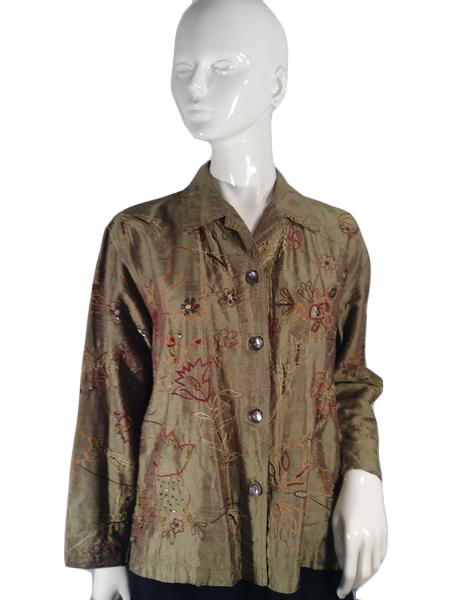 Chico's Blouse Olive Green Print Size 1 (SKU 000181-14)