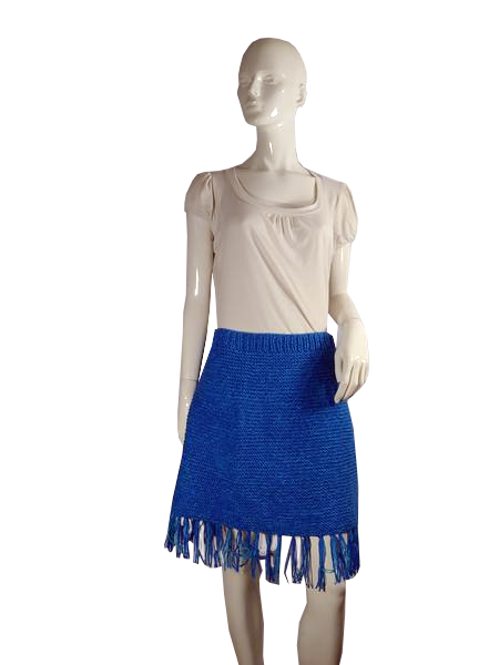 Knitted Skirt Blue Size L SKU 000117-9