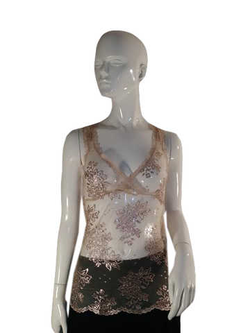 Sheer Sexy Negligee Tank Top Gold  (SKU 000090)