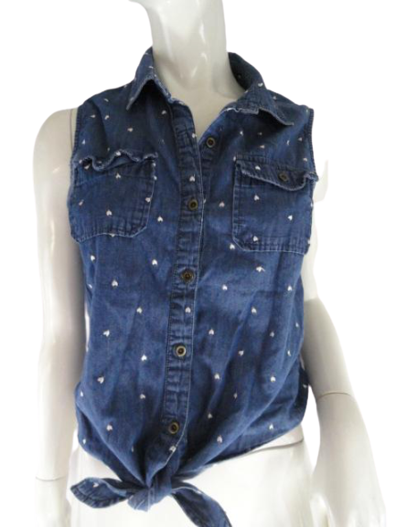 Black Poppy 90's Denim Blouse Blue Size M SKU 000081