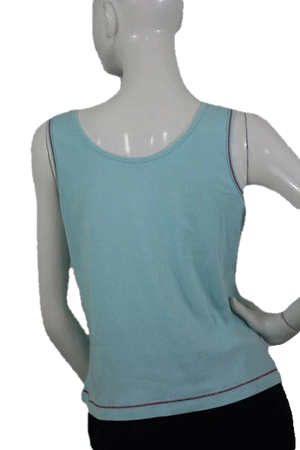 Escada Sport 70's Turquoise Top with Beading Size L SKU 000094