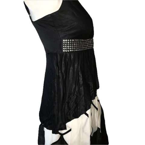Bebe Black Tank top with Spaghetti Straps with Silver Stud Design on Waist (SKU 000168)