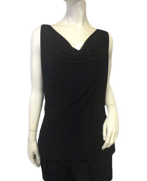 Norma Kamali Sleeveless Black Top Sz XL  (SKU 000057)