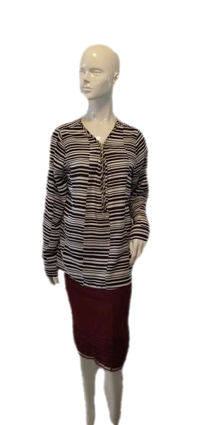 Calvin Klein Black and White Long Sleeve Zip Up Vee Neck Blouse Size L (SKU 000009)