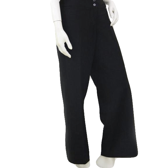 Atelier Black Flat Front Two Button Waistband Pants  Size 10 SKU 000171