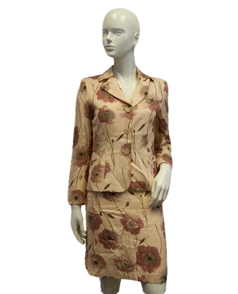 Moschino Cheap and Chic Peach Floral Print Skirt and Jacket Suit Sz 6 SKU 000084