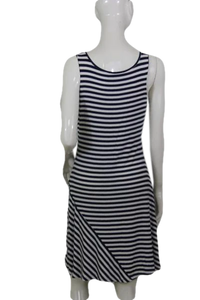Calvin Klein Blue and White Striped Rayon Nautical Style Dress Size 6 SKU 000172