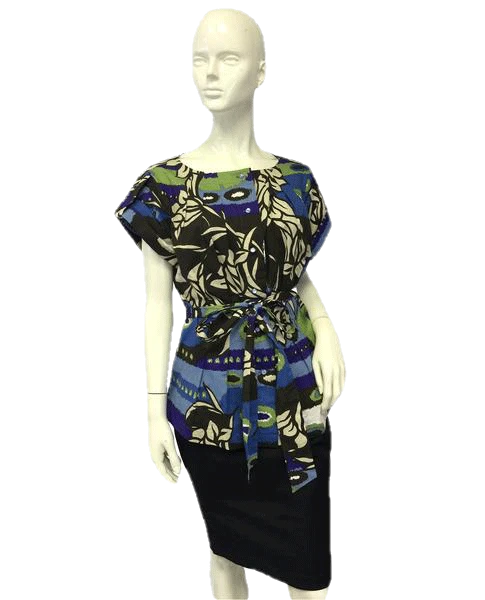 Escada 70's Floral Print Button Down Size 44 (Black) SKU 000057