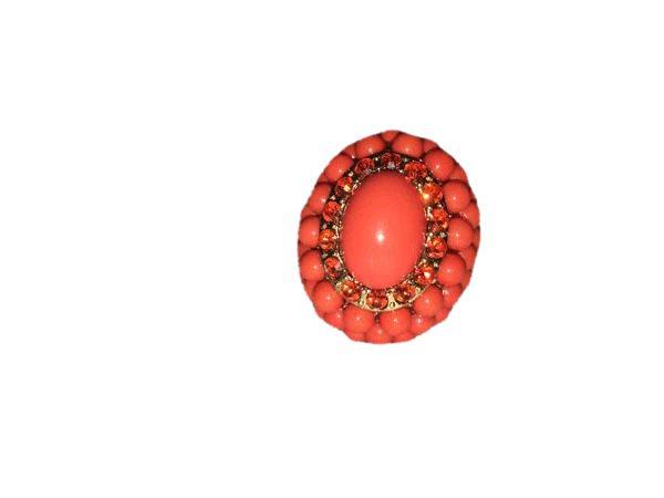 Orange Stretch Ring with Crystals and Gold Tone One Size Fits Most (SKU 000142)