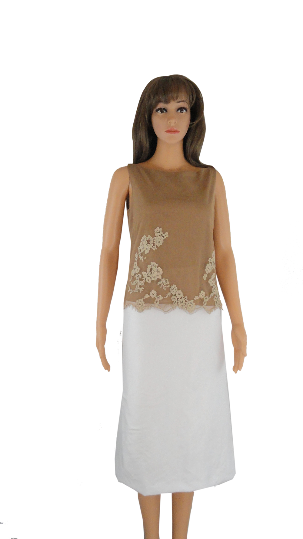 Anne Klein 70's Top Tan Lace Size 6 SKU 000209