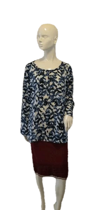 DKNY Long Sleeve Blue Print Blouse Size L SKU 000009