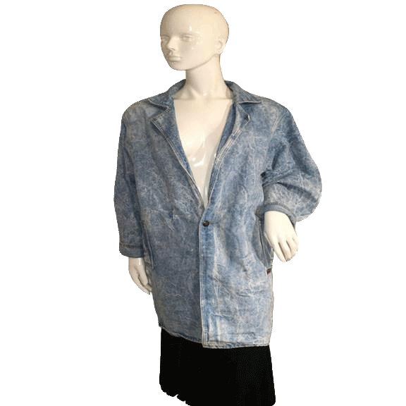 DENIM BLAZER Blue Stoned Wash Denim Long Sleeve Duster  Size Medium (SKU 000151)