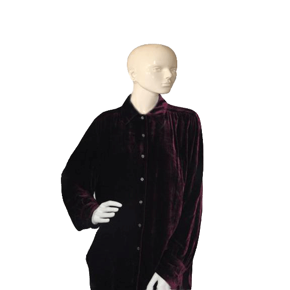 Tommy Hilfiger Burgundy Velour Long Sleeve Shirt Large  (SKU 000173)