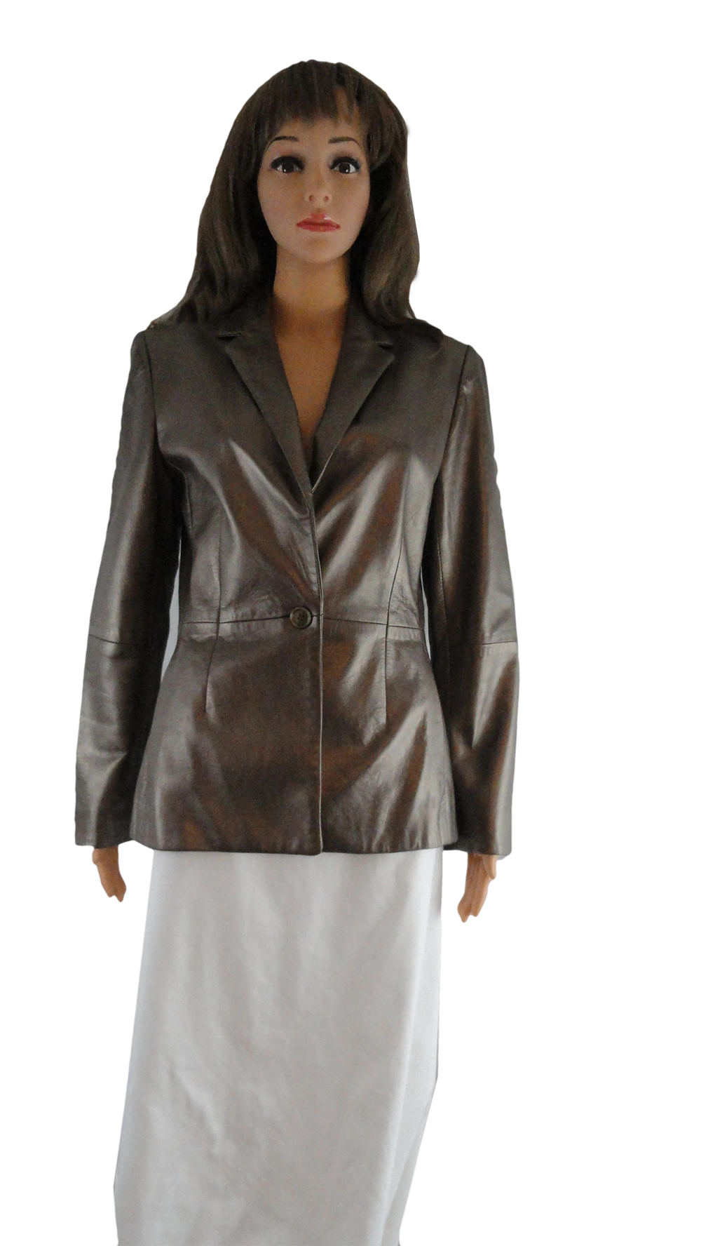 Anne Klein Leather Blazer Pewter Metallic Sz 4 (SKU 000267-1)