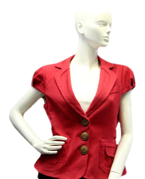 Nanette Lepore Red Short Sleeve Blazer Size 12 (SKU 000016)