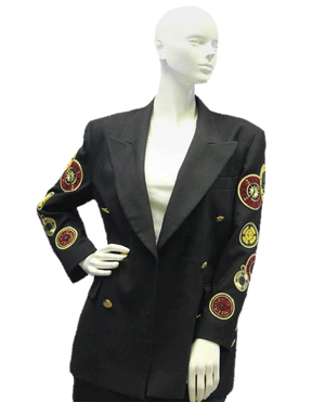 Escada RARE Collectible CLOCK PATCHES 70's Vintage Blazer Jacket Size 38 SKU 000005