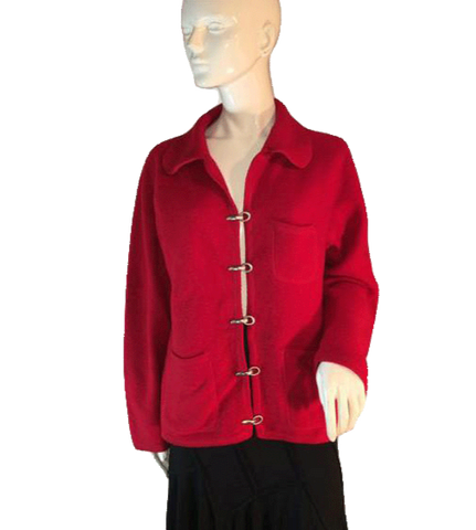 Andrea Viccaro 100% Wool Red Long Sleeve Blazer Size Medium (SKU 000203)
