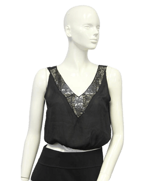 Black Embellished Beaded After Party Top Size Small (SKU 000101)